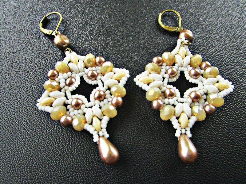 bo tissées perles bronze et goutte 002