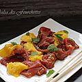 Carpaccio de boeuf à l'asiatique ... mangue et coriandre