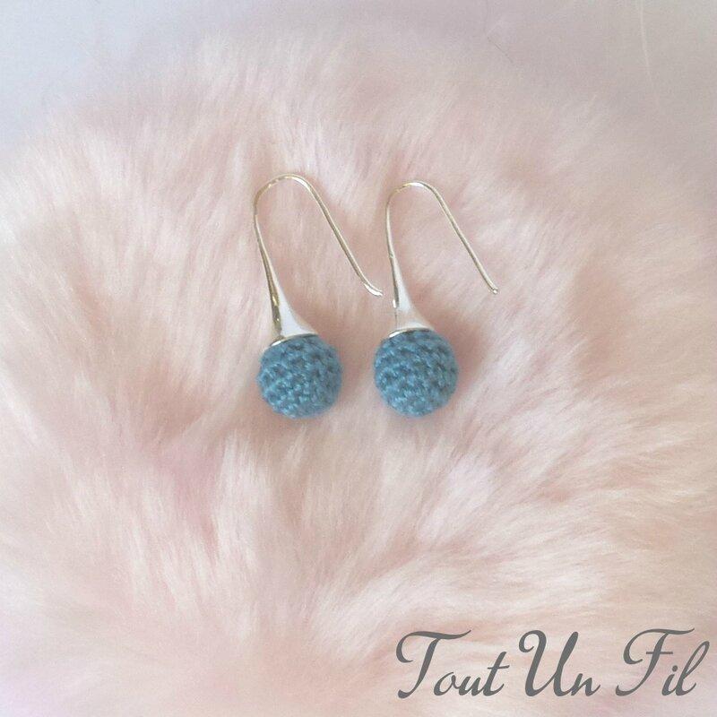 Boucles d'oreilles Bleu turquoise Crochet Tout Un Fil