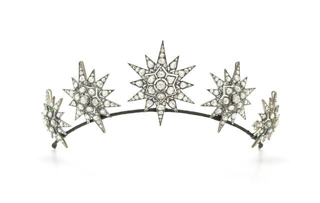 Five diamond brooches-tiara, circa 1890