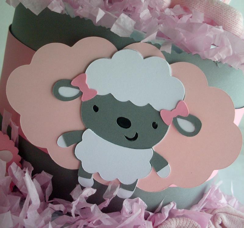 gâteau de couches fille gris rose mouton diaper cake baby girl cadeau de naissance original babyshower baptême andrea3