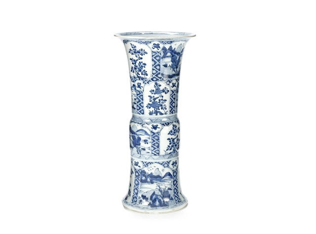 A blue and white vase, gu, Kangxi period