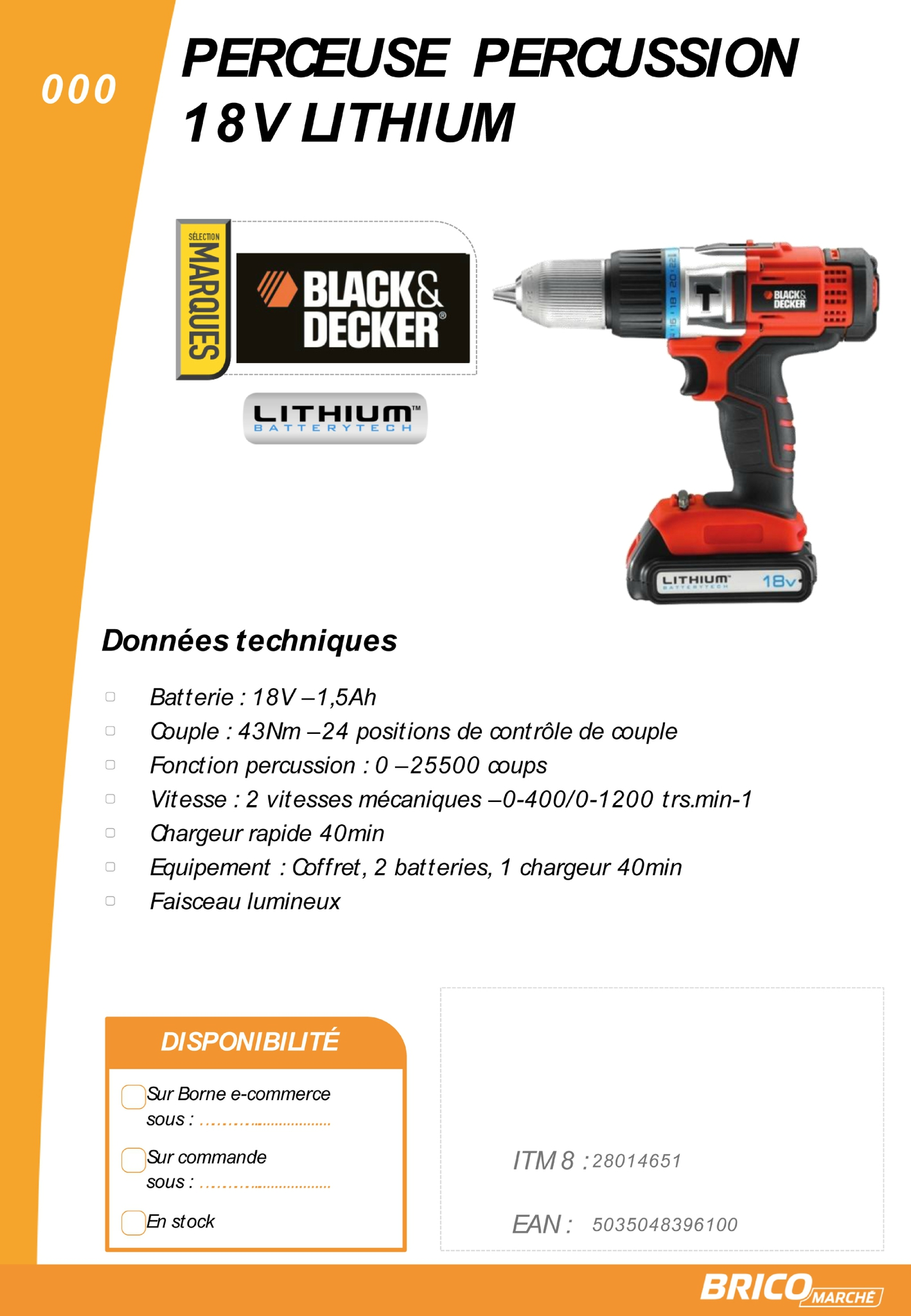 Perceuse visseuse black et decker 750w - Perceuse black et decker 18v ...