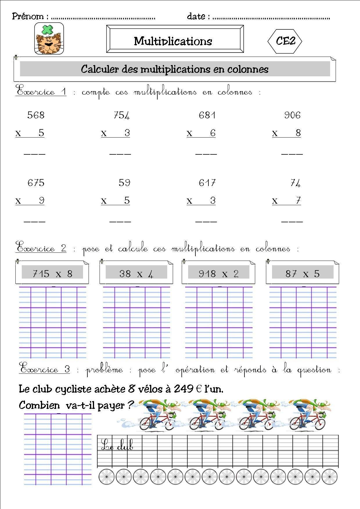 Maths 12 ce2 produits en colonnes avec retenues la for La multiplication ce2