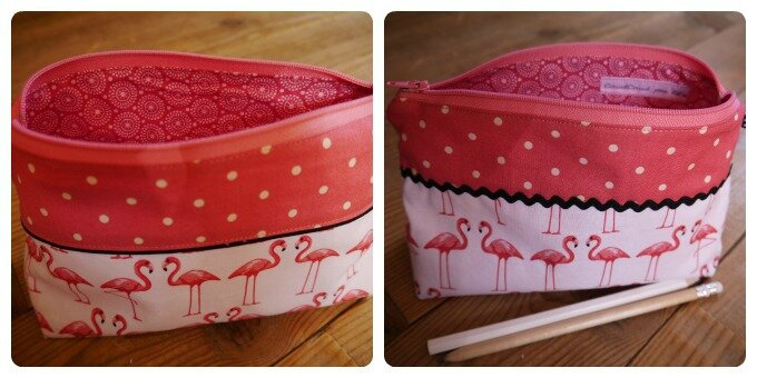 trousse flamants roses deux faces