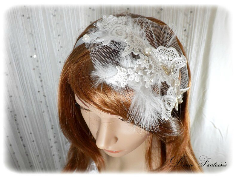 Headband dentelle mariée strass