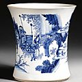 A blue and white brushpot, circa 1640