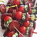 Brochettes chorizo-mozza-tomates cerises