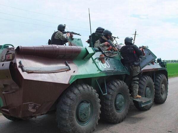 action des blindés à l'entrée de Slaviansk