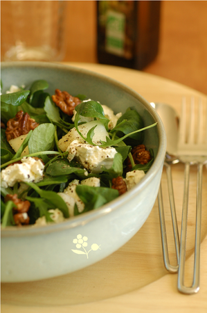 Salade mâche, roquette, ricotta, poire & noix_1