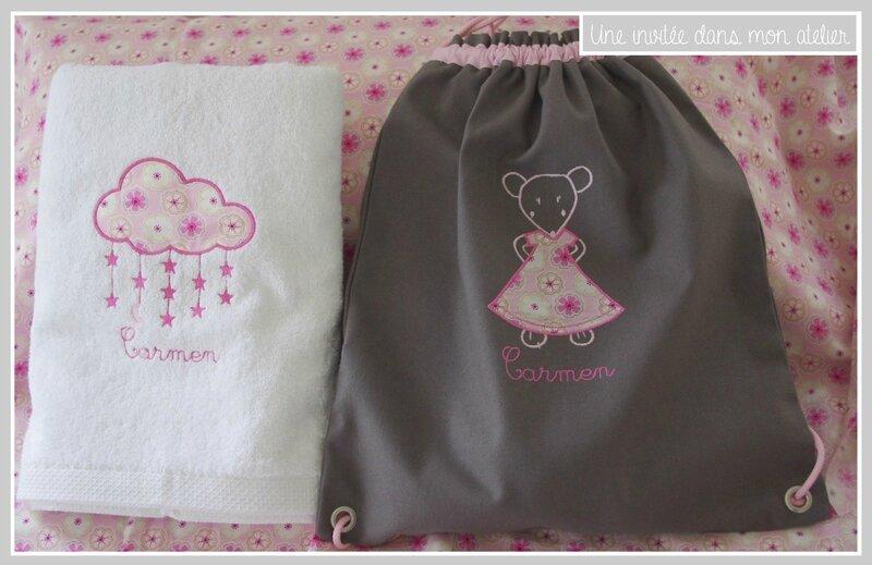 coffret naissance-Liberty-Toria rose-serviette de toilette-sac à dos