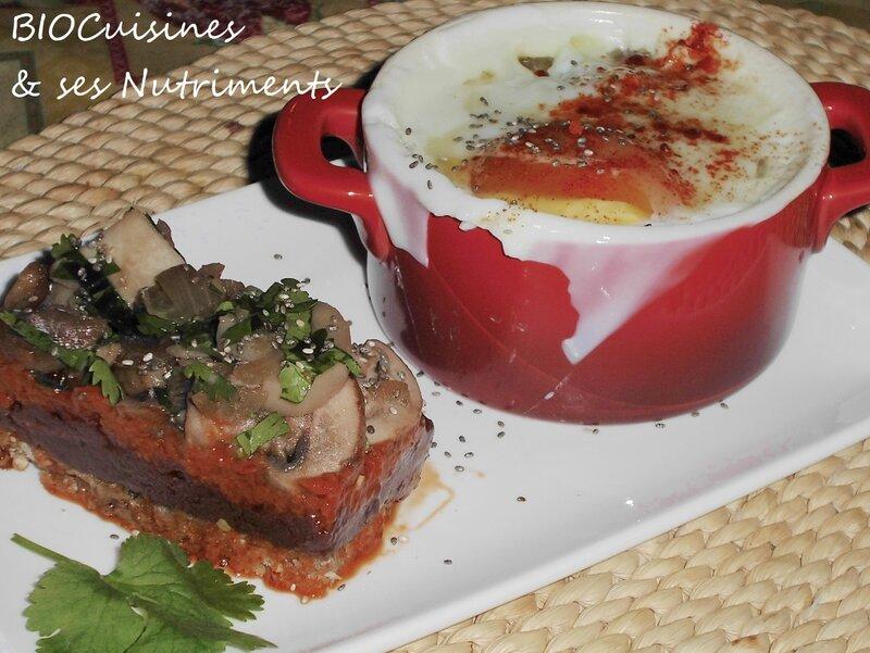 oeuf cocotte et bavarois aubergine