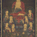 11-Amitabha et huit grands Bodhisattvas (Amita Gujon), vers 1300, Hanging scroll, encre, couleurs, et or sur soie, 59,5 inches x 35 inches, Asian Art Museum of San Francisco
