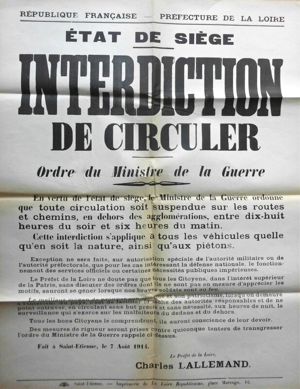 interdiction de circuler 7 août 1914