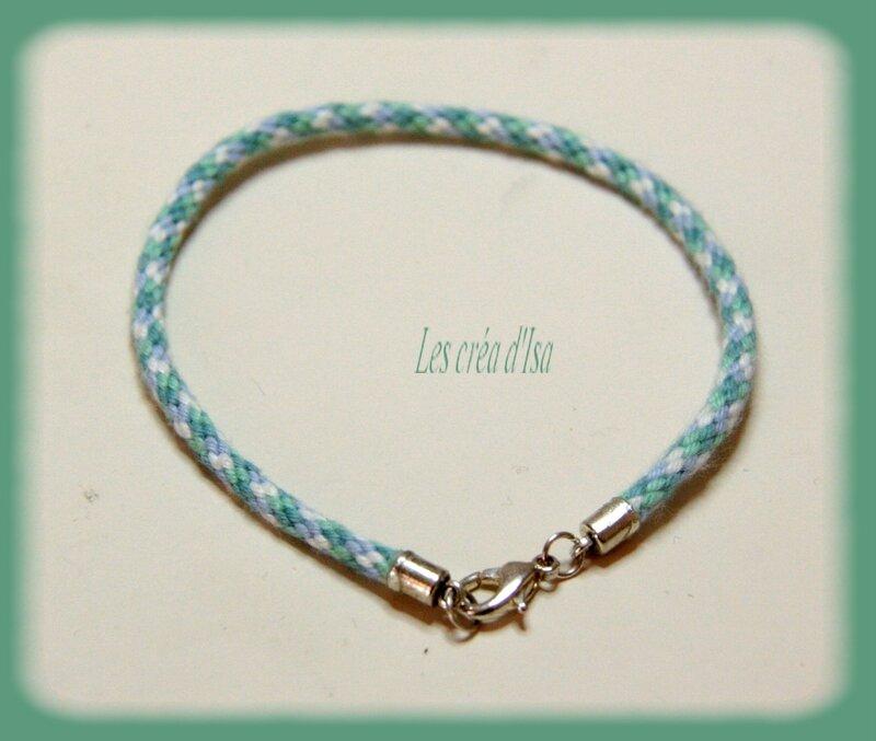 bracelet kumihimo blanc bleuvert