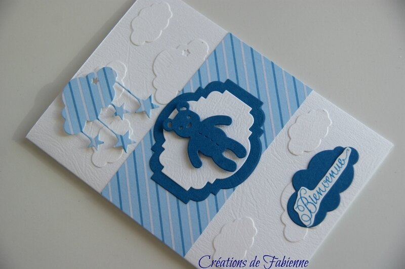 carte bienvenue bleu ourson