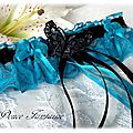 Jarretière papillon noir turquoise en dentelle mariée mariage