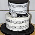 Un gâteau à étage recouvert de pâte à sucre sur