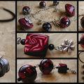 Collier 3 boules rouge et noir