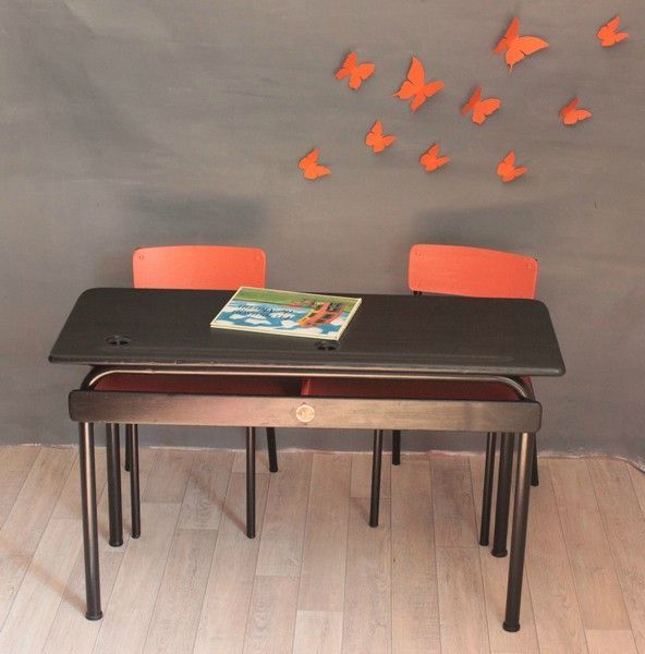 bureau ecole maternelle double orange et noir trendy little. Black Bedroom Furniture Sets. Home Design Ideas