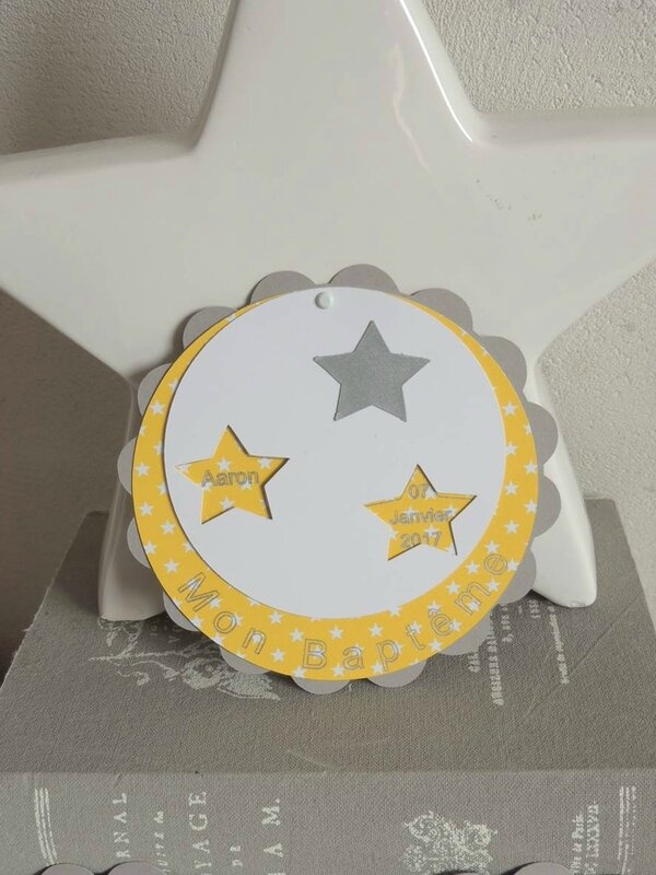faire part rond theme etoile bapteme baby shower jaune gris blanc2