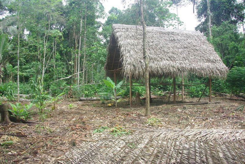 Première maison de l'écovillge en construction