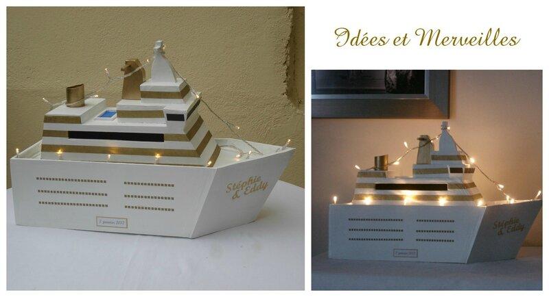urne bateau de croisière blanc et or - idees et merveilles