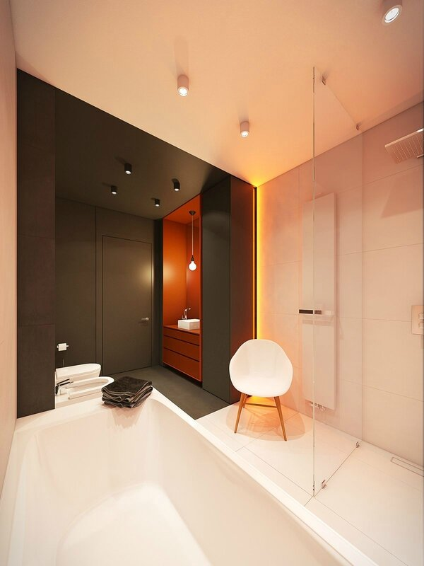 burnt-orange-bathroom-standing-light-coloured-cabinetry