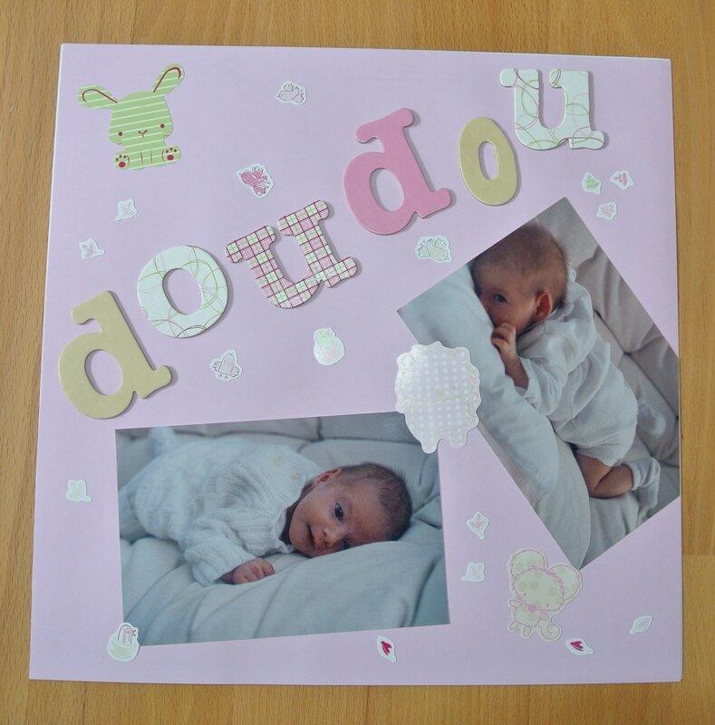 album scrapbooking page naissance petite fille les. Black Bedroom Furniture Sets. Home Design Ideas