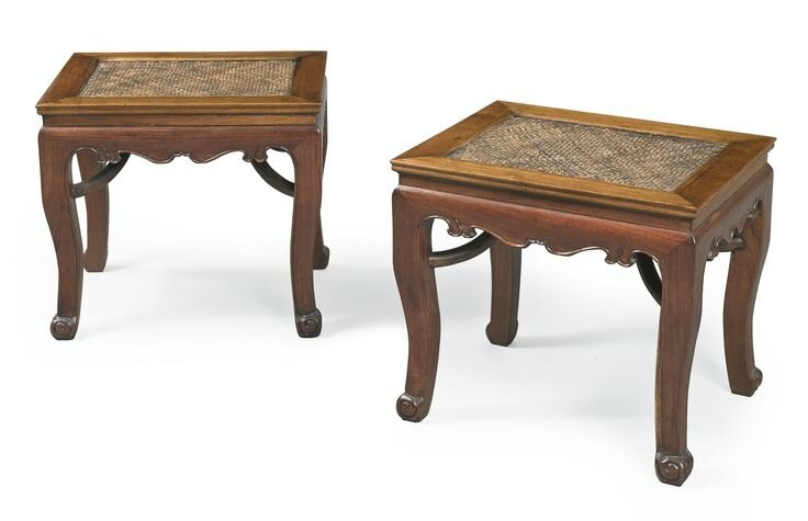 A rare pair of rectangular huanghuali cabriole-leg stools (changfangdeng), 17th century