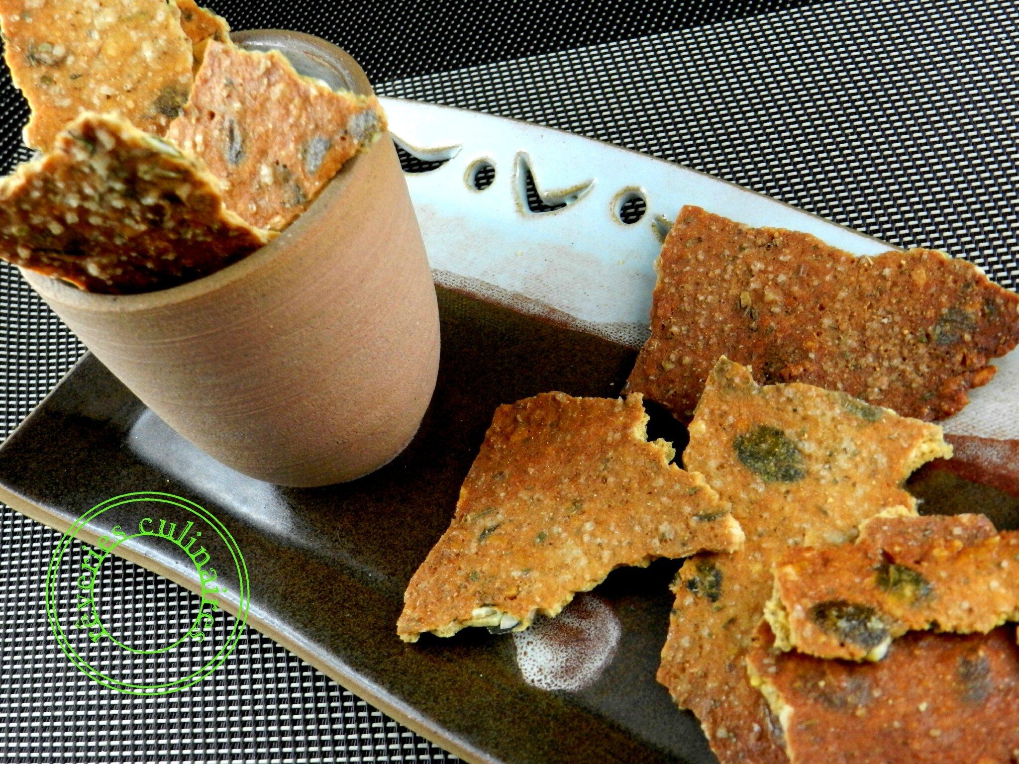 Crackers aux graines de courge et noisettes