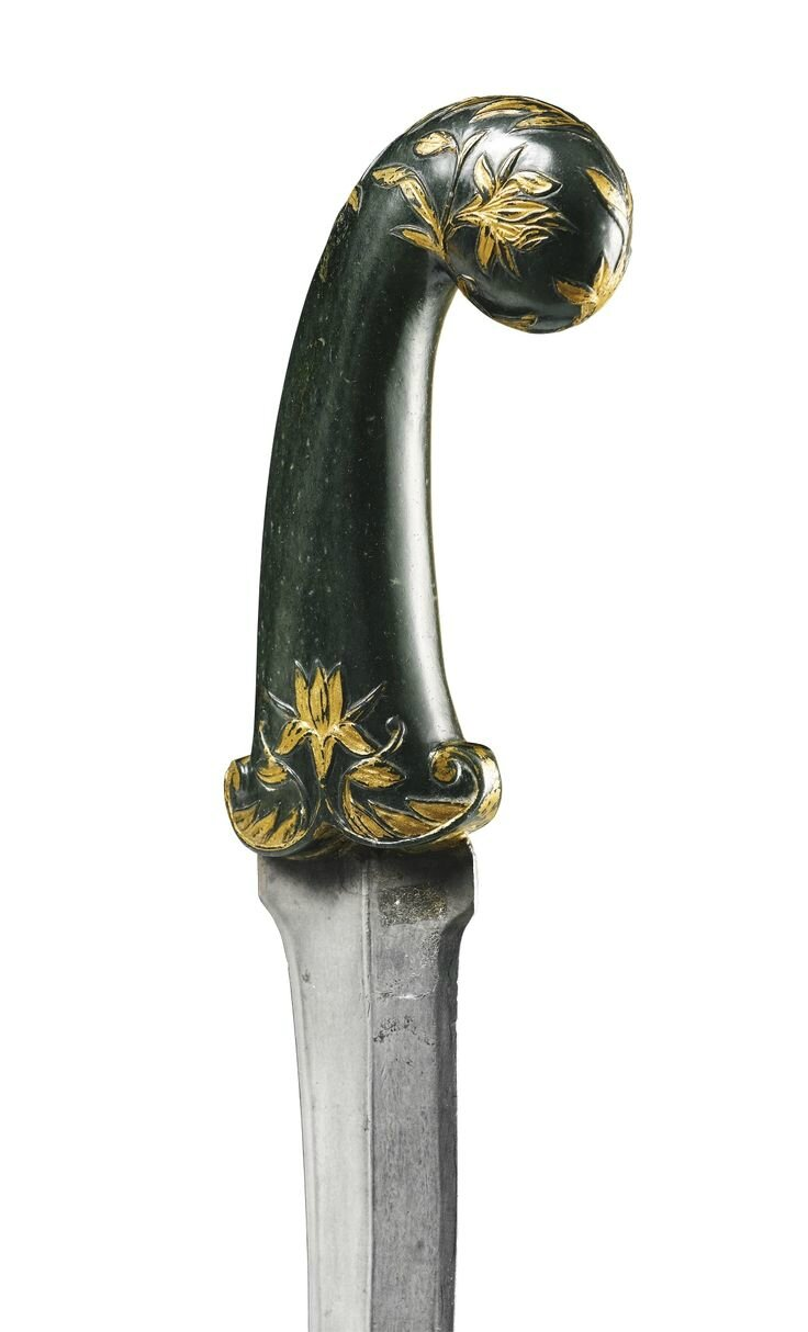 A Mughal jade-hilted dagger with watered-steel blade, India, 18th century