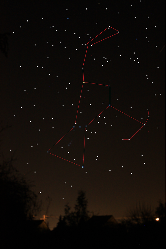 Constellation d'orion tracée