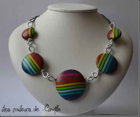 112 collier rayures multicolore