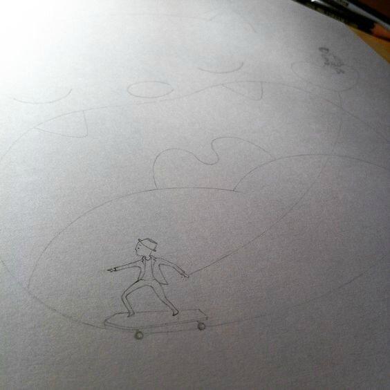 étape 1 crayonné