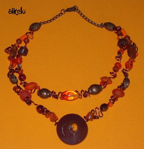 Collier zig orange_marron