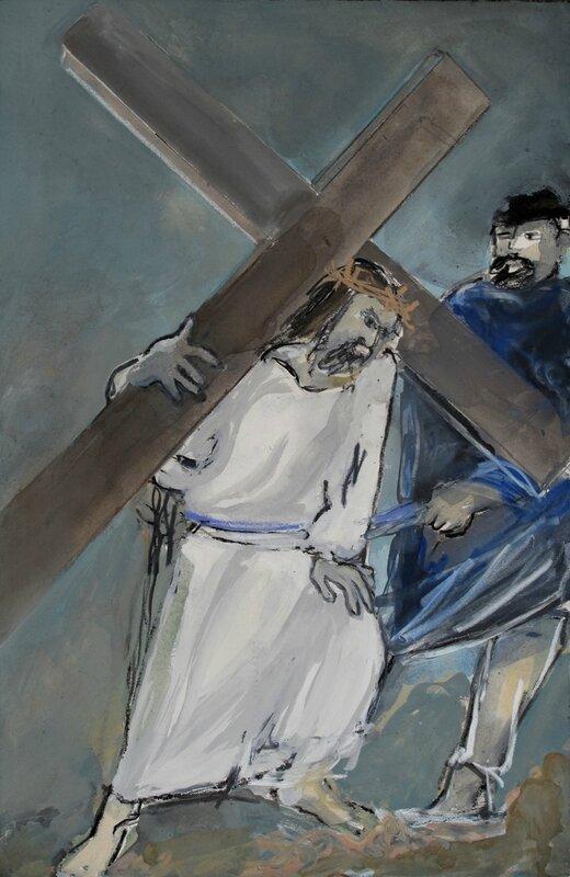 Station 7 - Jésus est chargé de sa croix (60x40cm)