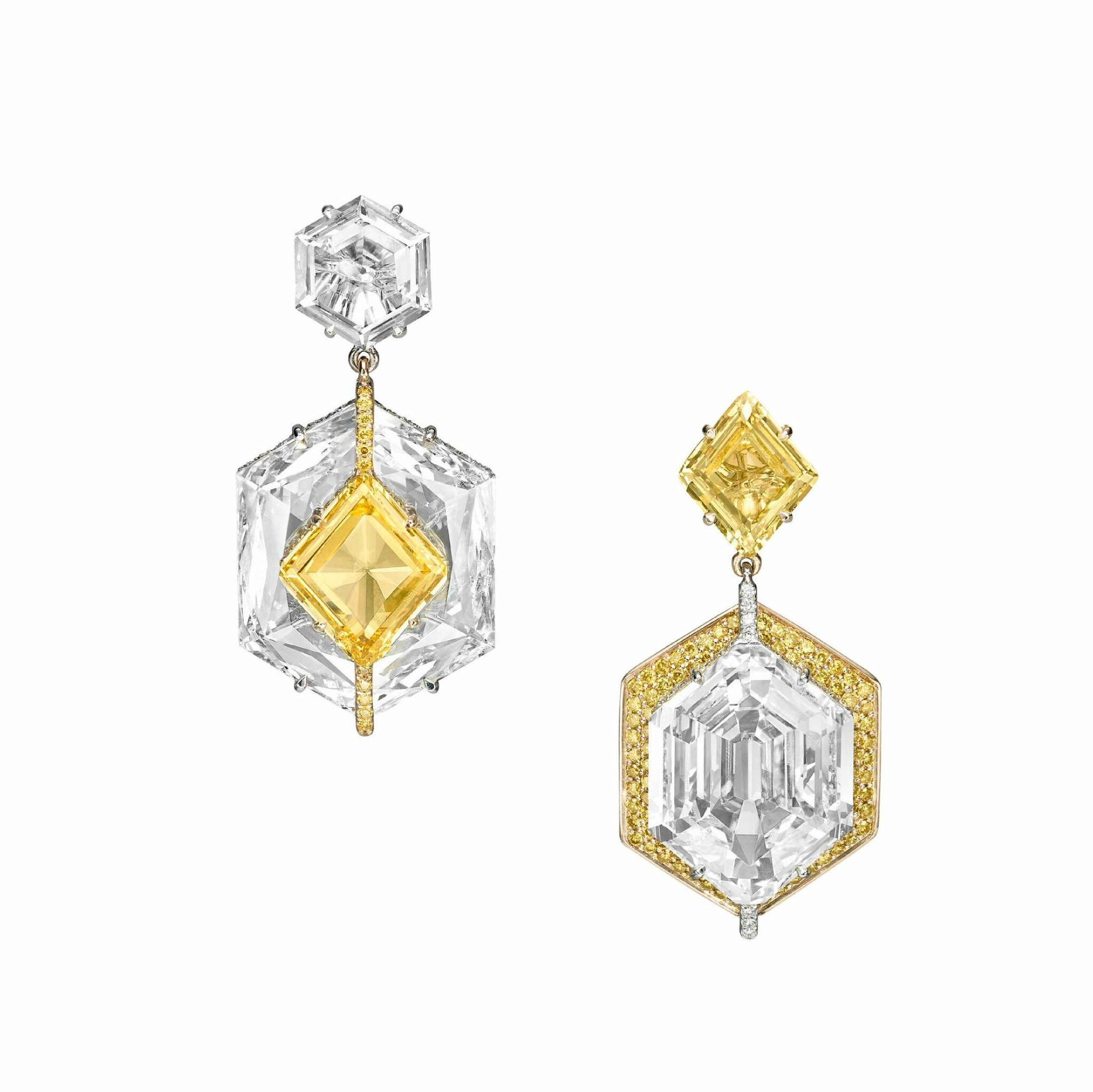 BOGH-ART, Yellow and white Kissing diamond earrings at