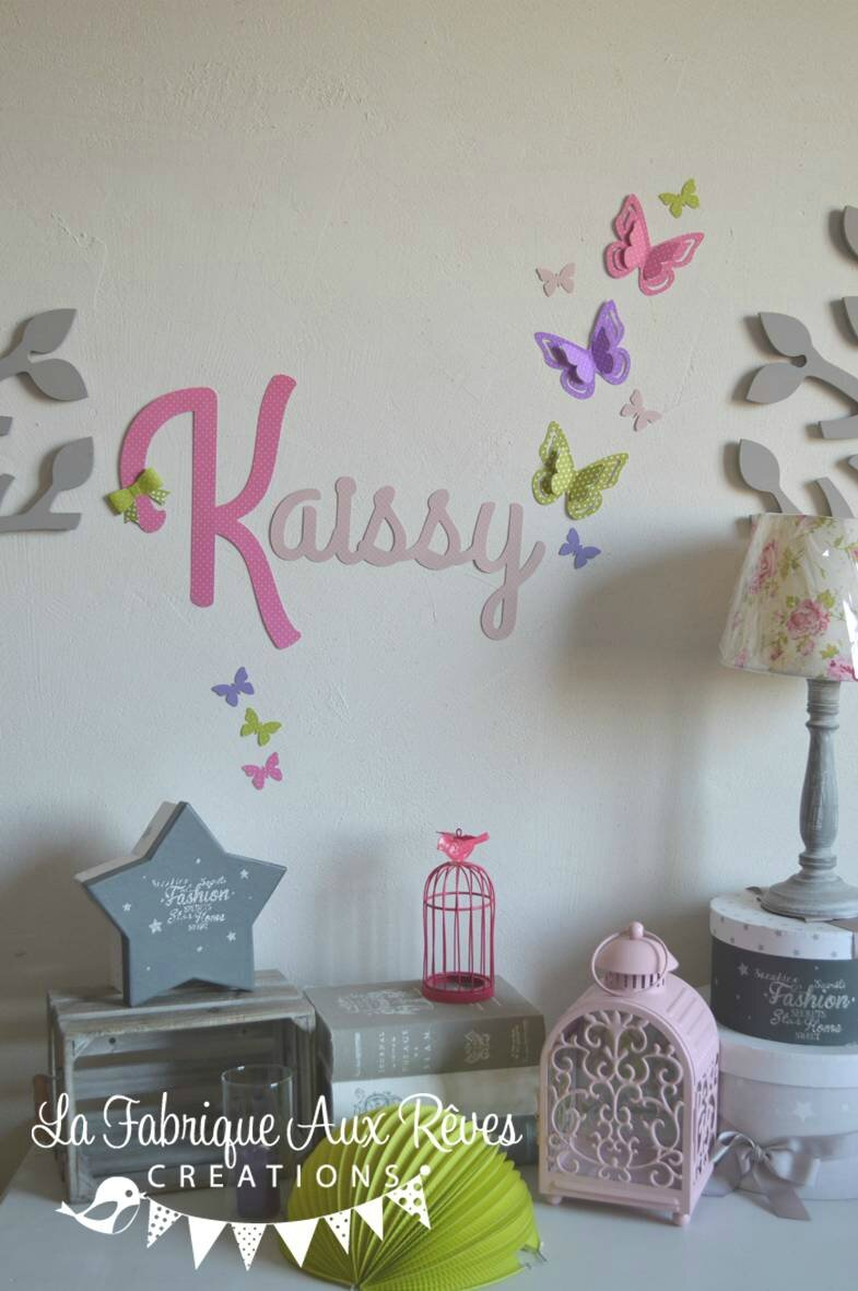 Stickers pr nom fille rose poudr rose vif anis violet for Decoration murale chambre fille