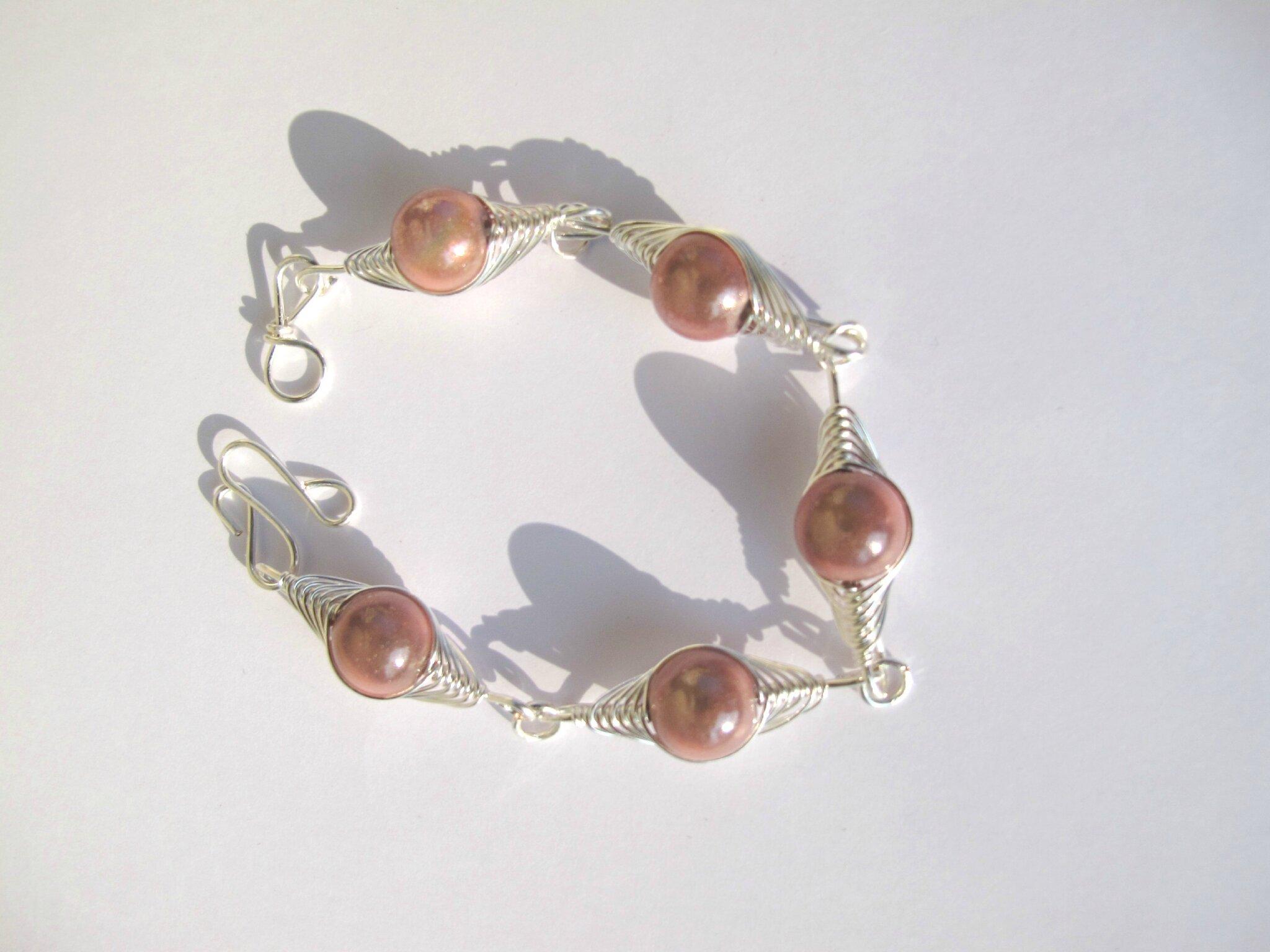 bracelet wire argent perles roses
