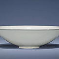 A rare moulded Ding dish, Yuan dynasty(1279-1368)