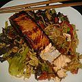 Pavé de saumon et ses pâtes aux légumes 11 pp la part recette pour 2 pers