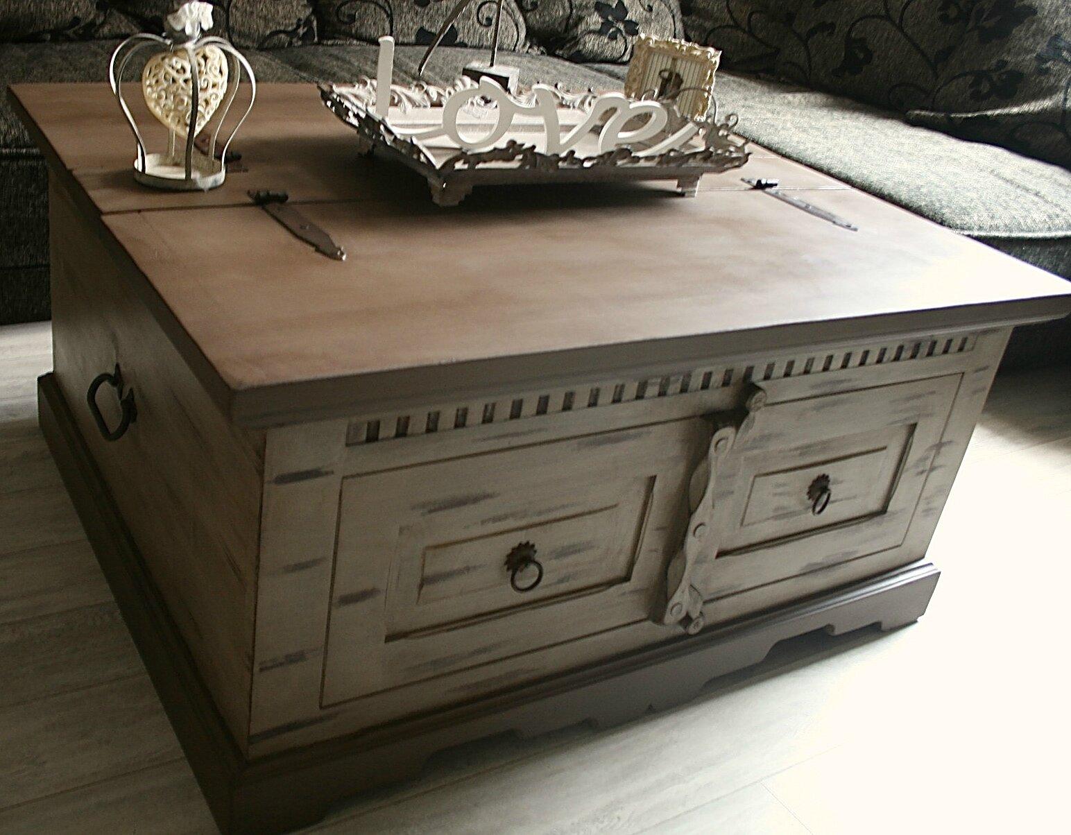 Tr s belle table de salon double coffre de rangement en - Table de salon rustique ...