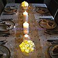 Ma table de noël : en blanc et or avec une pointe d'argent