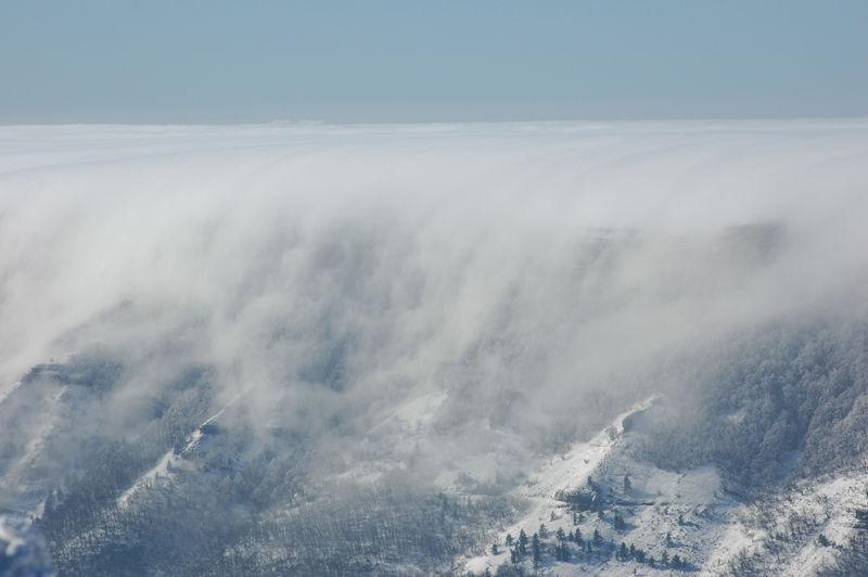 plateau d'ambel avec du brouillard