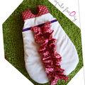 turbulette naissance blanche et froufrou rose à pois geant