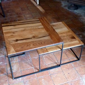 table basse chene metal (3)