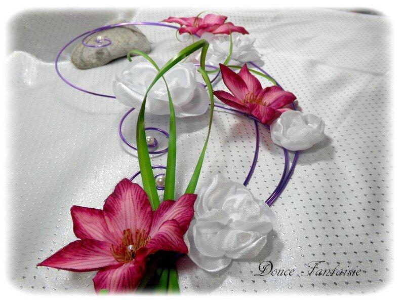 Bouquet parme blanc fuchsia