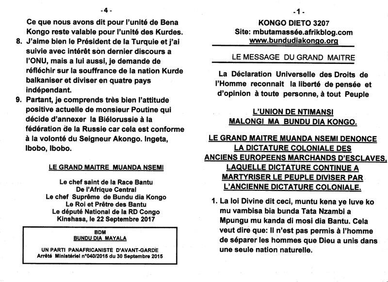 LE GRAND MAITRE MUANDA NSEMI DENONCE LA DICTATURE COLONIALE a