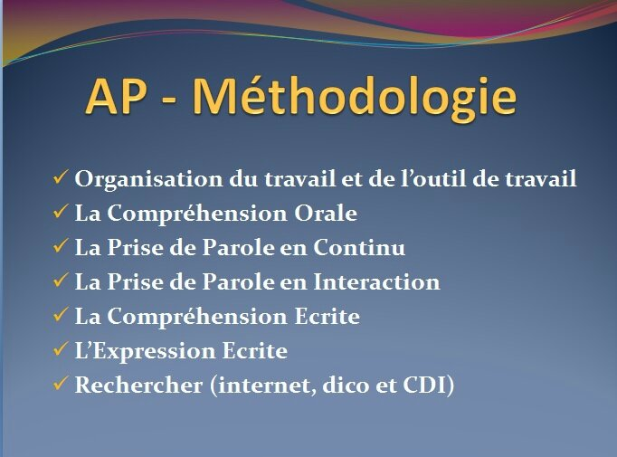 AP - Méthodologie 2nd
